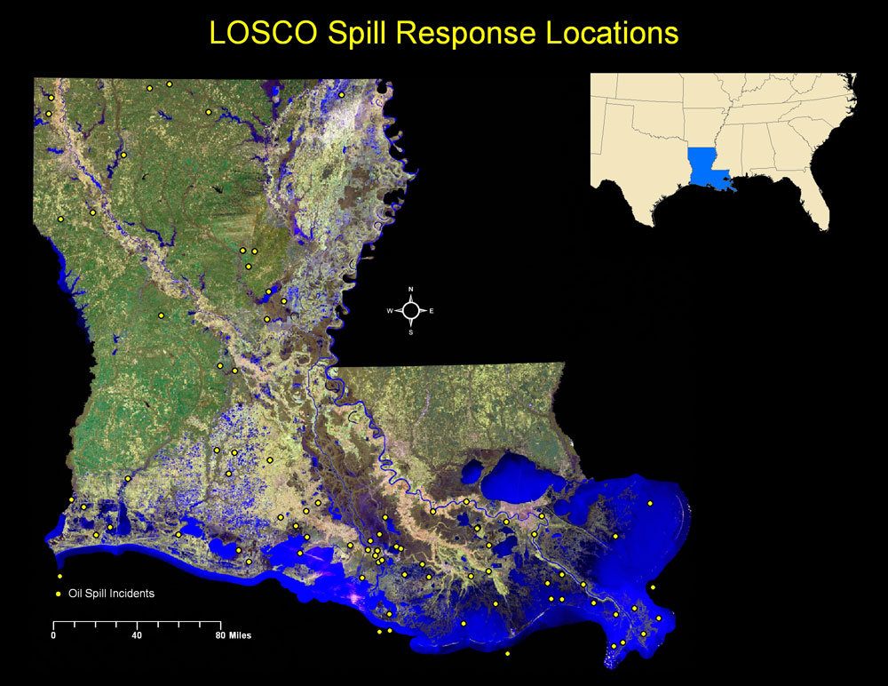LOSCO Oil Spill Response - Map of oil spills in the us